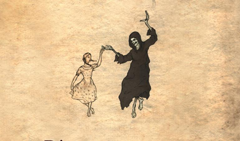 """Das Buchcover von """"Die Bücherdiebin"""" zeigt symbolhaft den Tod, wie er mit einem Mädchen tanzt."""