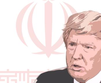 Ein Symbolbild des Konflikts. Eine Zeichnung von Trump vor der iranischen Flagge.