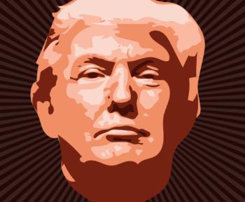 Ein Gemälde zeigt den Kopf von Donald Trump