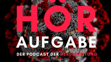 """Coronavirus mit dem Schriftzug """"Höraufgabe - der Podcast der Herderzeitung"""""""