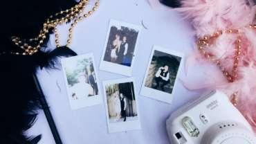 Polaroid-Bilder von Menschen mit ausgefallenen Kleidungsstücken