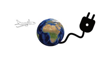 Illustration, in der ein Stromkabel aus der Erde kommt. Darüber fliegt ein Flugzeug.