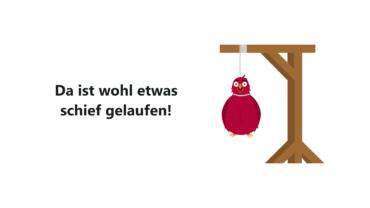 Der Vogel aus den HPI-Fehlermeldungen hängt am Galgen