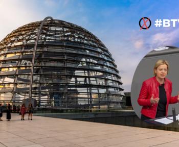 Fotomontage mit Bundestagskuppel und Frau Lötzsch